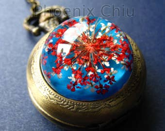 Queen Anne's Lace Necklace Pocket Watch Real Flower Necklace Pressed Flower Necklace Pocket Watch Resin Necklace Vintage Victorian Steampunk