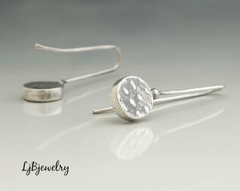 Silver Dangle Earrings, Silver Drop Earrings, Hollow Form Earrings, Textured Silver Earrings, Metalsmith Jewelry, Handmade, Artisan jewelry