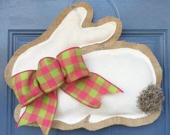 Fleece and Burlap Bunny Door Hanger