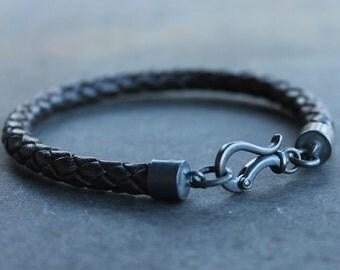 Mens Leather Bracelet black braid bracelet - Braided jewelry bracelet cuff mens