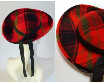 SHIPPING DELAY 1940s / 1950s Red Plaid Wool Wide Brim Hat