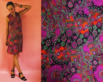 1960s / 1970s Psychedelic Purple Floral Dress