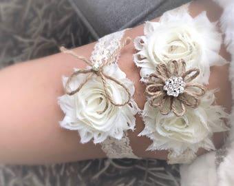 Burlap Wedding Garter, Garter Set, Wedding Garder, Burlap Bow Garter,Burlap Flower Garter, Toss Garter, Burlap, Rustic Garter, Ivory, Garder