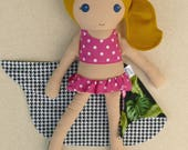 Fabric Doll Rag Doll Dark Blond Haired Girl in Pink Polka Dotted Swimsuit with Floral Sarong