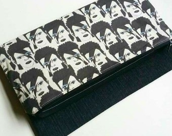 David Bowie Glamrock inspired purse fold over clutch black and white