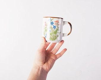 Boho Floral Mug / Vintage Pottery Mug / Tropical Leaf Mug / Coffee Mug / Ceramic Mug / Mug Pottery / Floral Print Mug / Tropical Decor