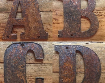 """RUSTED Metal Letters - Make your own Signs ! Nearly 5"""" predrilled"""
