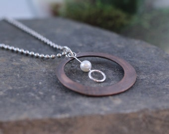Pearl and Copper Circle Pendant Necklace, Hand Hammered Copper Ring with Sterling Silver Pearl Drop, Britton Jewelry Necklace