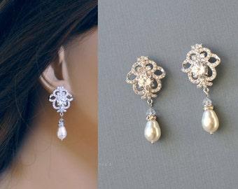 CZ Bridal Earrings, Wedding Earrings, Swarovski Pearl Crystal Dangle Earrings, Vintage Style, Bridal Jewelry, JOLIE