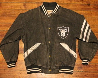 Oakland Raiders denim jacket vtg NFL football jeam jacket medium