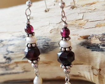 Medieval Garnet Pearl Dangle Earrings, Vintage Inspired, Deep Red Gemstones, Freshwater Cultured Pearls, Sterling silver, Fair Trade