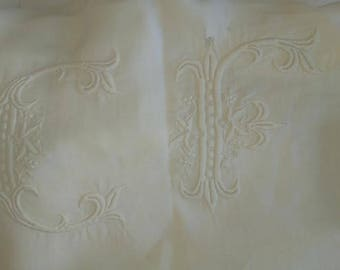 Antique Queen Sheet with Lace Crochet and Monogram