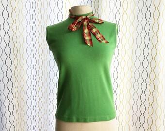 Vintage 60s green top/ Mod preppy 100% cotton sleeveless mock turtleneck/ Fracasse Partout/Made in France/ spring green shirt