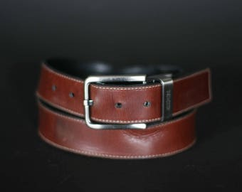 vintage kenneth cole brown leather belt men's size 38