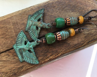 Rustic Isis earrings n264 boho jewelry . blue patin metal . Tribalis . Egyptian Goddess Isis . bohemian mystic myth woman women green patina