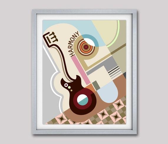 Geometric Wall Art Decor, Bauhaus Poster, Abstract Art, Cubist Painting, Geometric Art Print, Minimalist Art Poster, Cubism