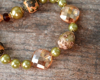 Eclectic bead statement necklace Chunky boho necklace Bohemian jewelry for women Orange and green big bold beaded necklace