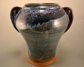 Starry, Starry Night  - pottery vase - flower vase  - stoneware ceramic vase -  large vase - crystallized  blue glaze over copper red