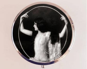 Flapper Ziegfeld Follies Pill Box Case Pillbox Holder Trinket Stash Box Art Deco Jazz Age Roaring 1920s Hoop 2