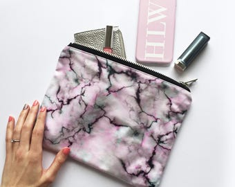 Pastel marble portfolio clutch bag - Minimal style marble clutch bag, marbled fashion, marbled zipper pouch, pastel shades, spring style