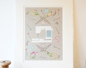Limited Edition Sewing Themed Print - Craft Room Printed Picture - Sewing Machine Print