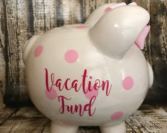 LARGE Personalized pink polka dot, vacation fund, girl bank, birthday banks, custom piggy banks, baby's first piggy bank
