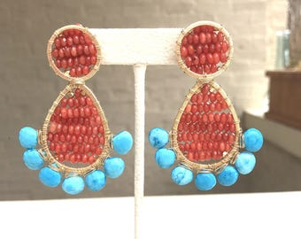 Coral statement earrings with turquoise briolettes