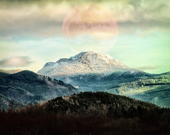 Mountain Landscape | Surreal Art | Fine Art Photography | Pacific Northwest Large Wall Art | Nature | Full Moon | Home Decor | New Home Gift