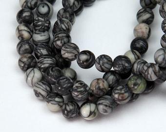 Matte Veined Jasper Beads, 6mm Round - 15 inch Strand - eGR-JA447-6