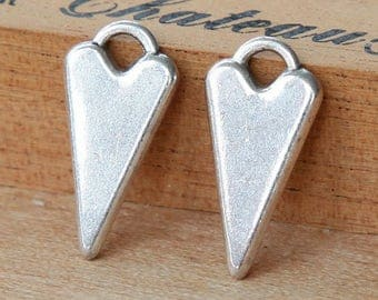 Fancy Heart Charms, Antique Silver, 22mm - 6 pcs- eTC030-AS