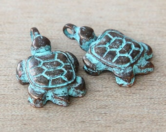 Turtle Charms, Green Patina, 25x15mm - 2 pcs- eC0226GP