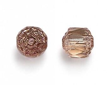 Blush PInk Picasso Czech Glass Beads, 6mm Renaissance- 25 pcs - e7011-15-6f