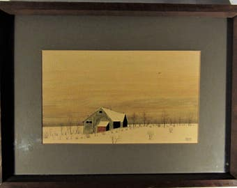 Oil Painting House  In The Field 1975
