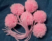 Handmade Yarn Pom Poms Pink Size Small - Set of 6 - Costume Poms Package Ties