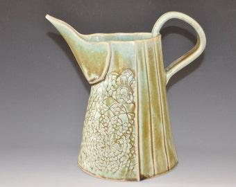 Tall green ceramic pitcher with lace texture and long spout, Holiday gift, housewarming gift, ready to ship