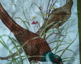 GUCCI Pheasants Field Green Silk Scarf