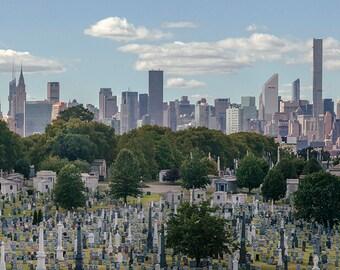 calvary cemetery queens new york city panorama photography print