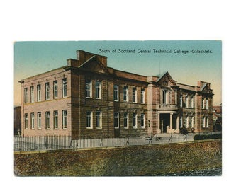 100 year old color postcard Scotland Central Technical College, Galashiels, 1917