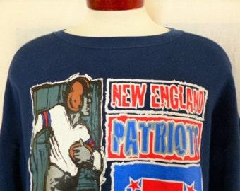 vintage 90's New England Patriots 1997 AFC Champions NFL Football navy blue fleece graphic sweatshirt  red white blue logo print crewneck XL