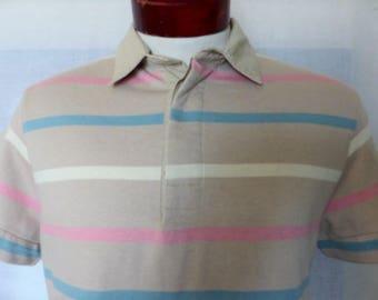 vintage 80's Duffel beige thick jersey knit polo shirt pastel color block pink light blue cream horizontal stripe hemmed side pocket medium