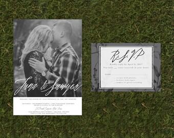 Custom Photo Wedding Invitation and RSVP