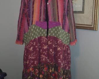 Upcycled boho duster..L-XL..free people look...junk gypsy duster..urban prairie dress..patchwork hippie duster..eco clothing..