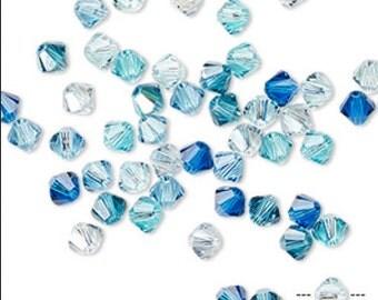 144 pcs Swarovski 4mm bicone beads, Frost, Pacifica, Ireland ,Emerald AB 2X,Fuchsia AB 2X,Paradise shine 2X