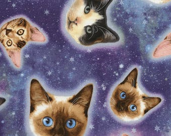 Fat Quarter Galaxy Cats, Space, Star, Cosmos, 100% Cotton Quilting Fabric C5393