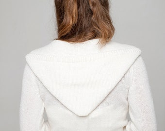 Wedding Jacket Kim with hoodie made of soft skin friendly yarn in white, off white, ivory ... perfect for your boho wedding