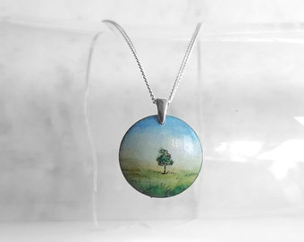 Hand Painted Wooden Pendant Necklace, Tree Painting Jewelry, Landscape Art Necklace, Sterling Silver Chain, Wood Handmade Jewelry, Artdora