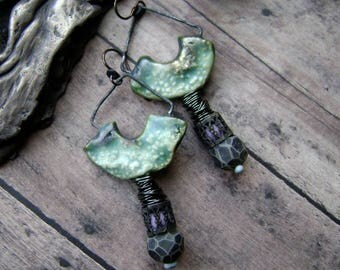Assemblage earrings with artisan ceramics and polymer beads, mixed media jewelry, filigree beads, handmade ooak earrings, Anvil Artifacts
