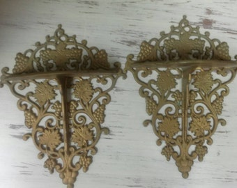 Vintage French Shelves Wall Sconces Pair