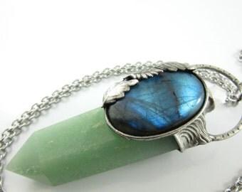 the dryad - labradorite, lemurian & green aventurine crystal pendant