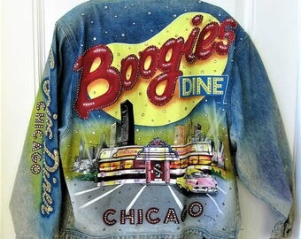 SALE, 1989 Tony Alamo Denim Jacket, Chicago Boogies Diner, Large, Designer for the Stars, Custom, collectible, rhinestones, gift idea
